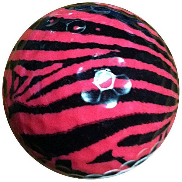 1 Dz. Pink Zebra Print Golf Balls