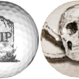 1Dz. RIP and Skull Double sided Golf Balls