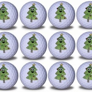 Christmas Tree Imprint Novelty golf balls 12 pack