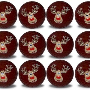 Reindeer Imprint Novelty golf balls 12 pack